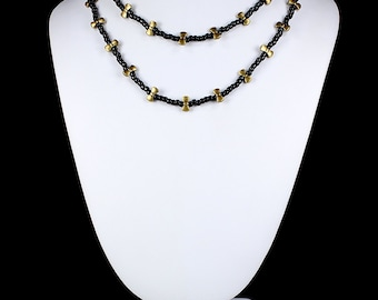 Bowtie Necklace Long Beaded Necklace Black Beads Antique Brass Bowties