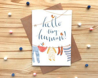 Hello Tiny Human Greetings Card, New Baby Card, Baby Clothes Washing Line Card, Baby Boy or Girl Card