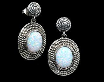 Stunning Fire Opal 8X10 Oval Coil Drop Dangle Earrings. .925 Sterling Silver