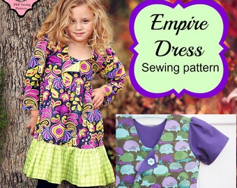 Empire Dress Sewing Pattern Tutorial by Whimsy Couture Short or Long Sleeve  12m- 11/12 girls PDF