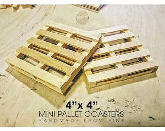 "Mini pallet coasters, handmade from pine, 4""x4"", great gift idea Pinterest"