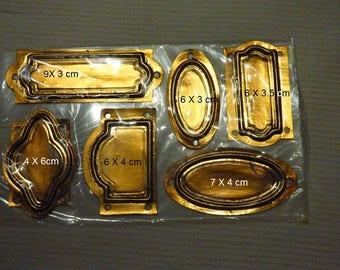 SET OF 6 LABELS GAUFREES ANTIQUE GOLD