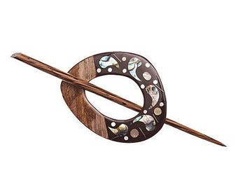 Shawl pin, hair pin, inlaid shell wood shawl pin and stick
