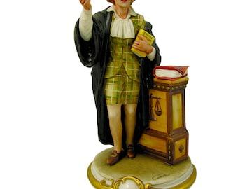 Ideal Gift for Lawyers - Handmade Italian Capodimonte Porcelain Lawyer Figurine
