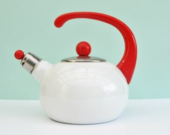 Vintage Retro 60s Whistling Kettle Stove Top Red White Enamel Camping Campervan