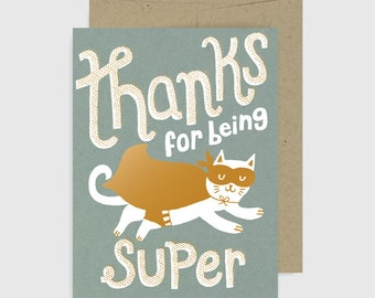 Thank You Card - Thanks for Being Super