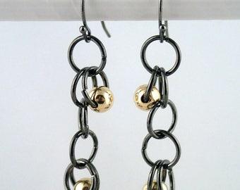 Hoopla Earrings in gunmetal and gold - handmade in NYC