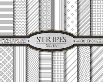 Silver Stripe Digital Paper Pack: Silver Diamond Shaped Patterns, Silver Stripe Paper, Light Gray Stripe Background, Silver Seamless Stripes