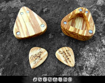 Guitar picks & case/Gifts for Dad for Christmas/guitar pick box/Birthday gifts for Dad/wooden guitar pick/wood box/personalized guitar pick
