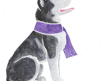 """SIBERIAN HUSKY - Original 10x8"""" mounted watercolour picture of a Husky dog, by Yorkshire artist Jess Chappell"""