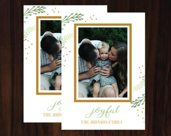 Picture Photo Christmas Holiday Card / Watercolor / Winter greenery / Printable / Digital / Gold / Modern / Simple