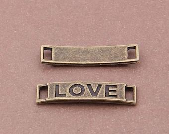 20PCS/Bulk Sale, Antique Bronze LOVE Connectors, Jewelry DIY Supplies, Antique Bronze Supplies---29*7mm, BC41-6753