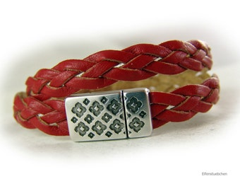 Lederarmband geflochten rot silber Leder Armband Wickelarmband Geschenk für sie beste Freundin Ehefrau Schwester Mutter