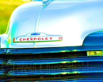 """Vintage Chevrolet Truck, """"CHEVY"""" Fine Art Photography, 8 x 12 or larger, Photo Print, Classic, Shiny, for Guys, Wall Art, Home Office Decor"""