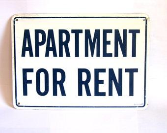 Vintage Metal Apartment for Rent Sign Cobalt Blue White Industrial Decor