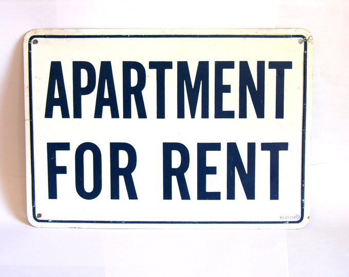 Vintage Metal Apartment for Rent Sign Cobalt Blue White Industrial Decor