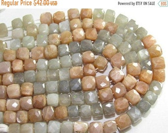 "Natural Moonstone and Sunstone Box Shape Faceted Beads Size Approx 7X7 mm Lenght Approx 9""inch New Arrival Wholesale price"