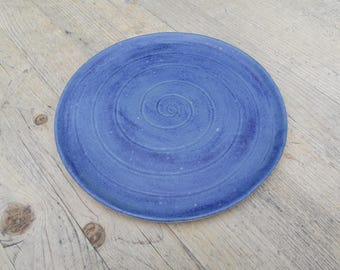 Satin blue, slab built ceramic plate.