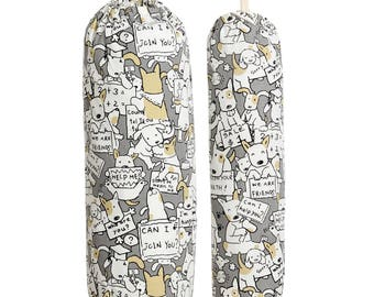 Plastic Bag Holder, Grocery bag storage sock. Dog, Cat, Duck, Bears and Flowers (Heavy Duty Cotton Canvas)