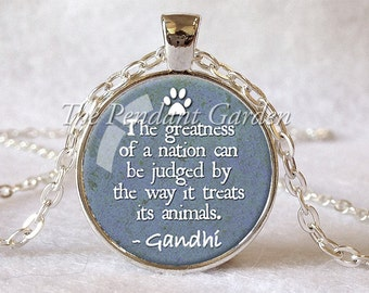 ANIMAL LOVER PENDANT Gandhi Quote Necklace Pet Lover Jewelry Animal Kindness Compassion Jewelry Blue and White Gift for Animal Lover