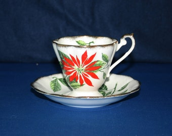 Vintage Royal Standard Poinsettia Teacup and Saucer 1950's Chapmans Longton Ltd pottery Christmas Holiday Tea Cup & Saucer English Tea Party