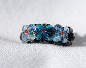 Bead Ring.  Glass Black/Blue/Red  Handmade   Size 4