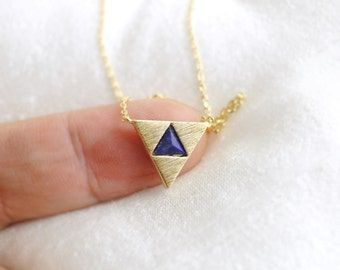 Gold Triangle with Navy Stone Necklace, Dainty Necklace, Triangle Necklace,Bridesmaid Gift, Birthday Gift-5051
