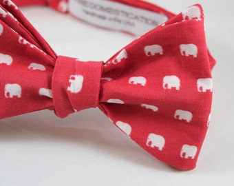 Red and White Elephant Mens Bow tie - clip on, pre-tied with strap or self tying freestyle - ring bearer outfit