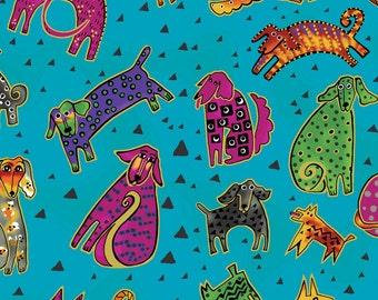 "LAST CUT 63""-Clothworks - Laurel Burch - Dogs & Doggies - Large Tossed Dogs w/Metallic - Aqua - Y1800-33M"