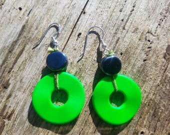 Green donuts earrings