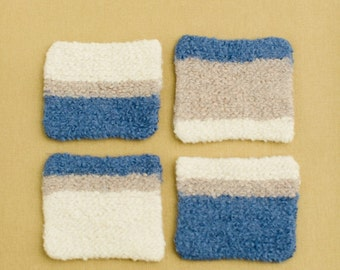 4 - Blue, Oatmeal & Ivory Felted Coaster Set Hand knit - Hand felted. Kitchen decor