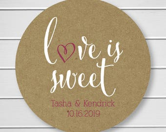 Love is Sweet Wedding Stickers, Rustic Wedding Seals, Wedding Stickers, Kraft Wedding Stickers (#121-KR-WT-B)