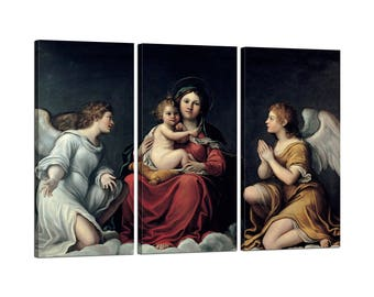 Painting on canvas with Francesco Albani Tris Frame Madonna with child and Angels