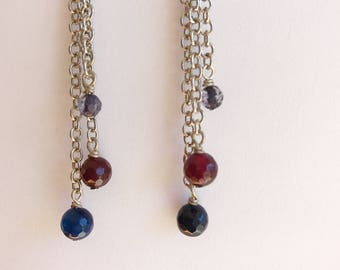 Blue and red Quartz dangle Earrings.