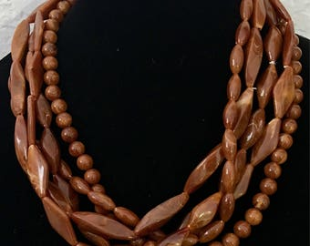 Beaded multistrand necklace