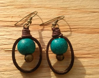 Blue Bell Leather Earrings
