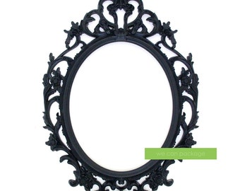 BLACK Baroque Picture Frame Oval Ornate Frame - Wedding and Photo Booth Signs