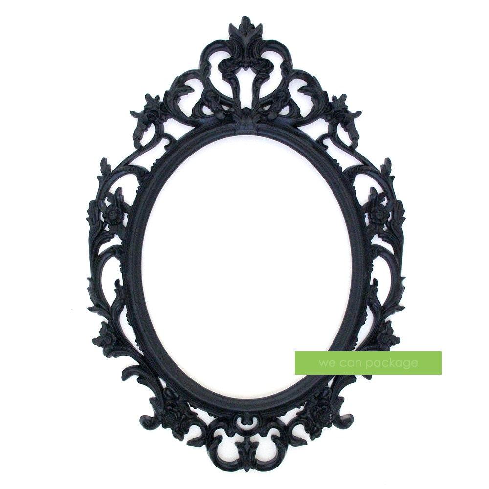 Cuadro barroco negro ovalado adornado marco bodas y Foto