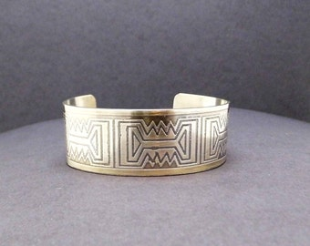 Sterling Silver Etched Cuff Bracelet