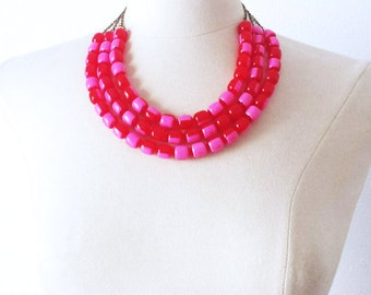 Layering multi strand Vintage necklace, Pink Watermelon Lucite 1960 necklace, Pin Up Rockabilly Must have Colorful Summer necklace