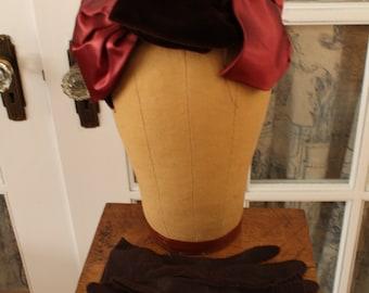 Vintage 1950's Petal Hat and Brown Gloves