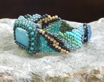 Free Form Peyote Stitch Beaded Bracelet Beaded Cuff Beaded Cabochon - Seaside