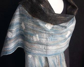 Imagine Series. Felted Shawl. Brilliant. Blue. Black. Brown. Merino Wool. Silk. Bamboo. Luxury.