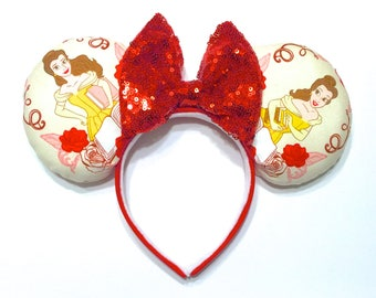 Beauty and the Beast Mouse Ears - Belle Mouse Ears - Beauty and the Beast Sequin Mouse Ears - Belle Minnie Mouse Ears Inspired - Princess