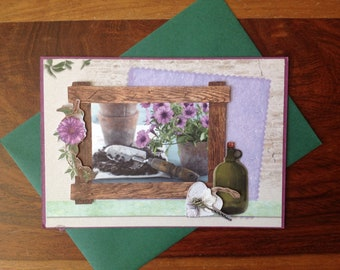 Double card, handmade, 3D, birthday, any occasion, party, gardening, petunia