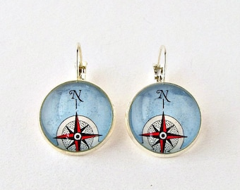 Compass Rose Earrings, Nautical Womens Jewelry, Compass Rose Jewelry, Compass Rose Gifts, Silver Compass Gifts, Wanderlust Compass Jewelry