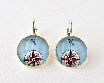 Compass Earrings / Compass Jewelry / Graduation Gift for Her / Teacher Gifts / Mentor Gift / Retirement Gifts for Women / Sailing Gifts