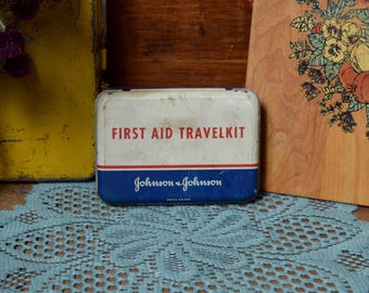 Vintage First Aid Travel Kit Advertising Medicine Toiletry Metal Tin Johnson & Johnson