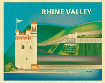 Rhine Valley Skyline Print, Cologne Germany poster, Rhine Valley Print, Rhine Valley Baby Art, Rhine River Art, style E8-O-RHI