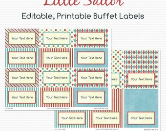 Nautical Buffet Labels, Little Sailor, Party Decoration, Candy Buffet, Place Cards -- Editable, Printable, Instant Download